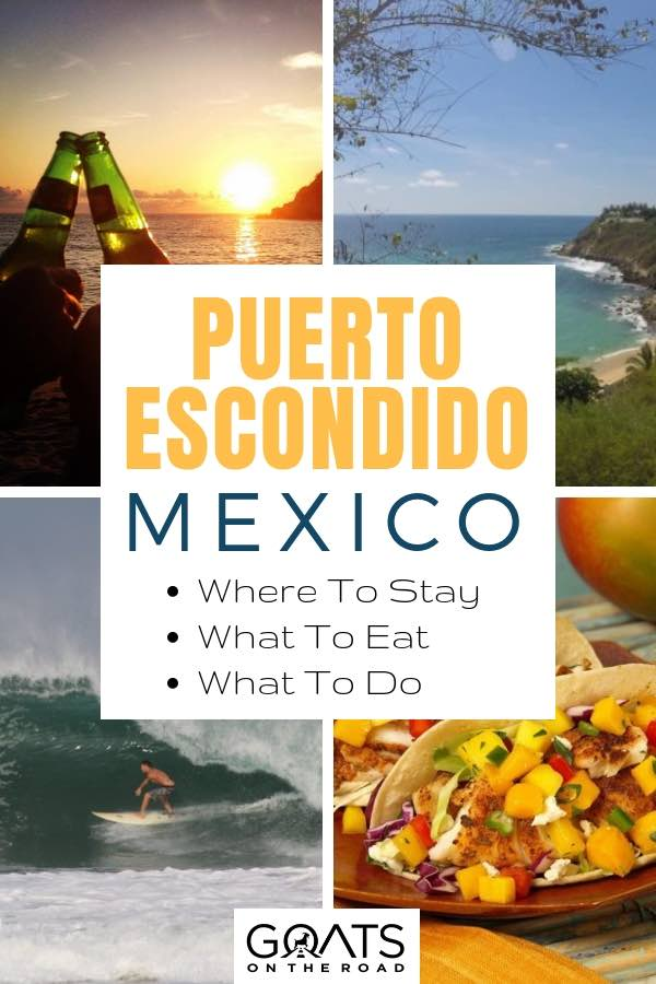 sunset cheers and tacos in puerto escondido with text overlay