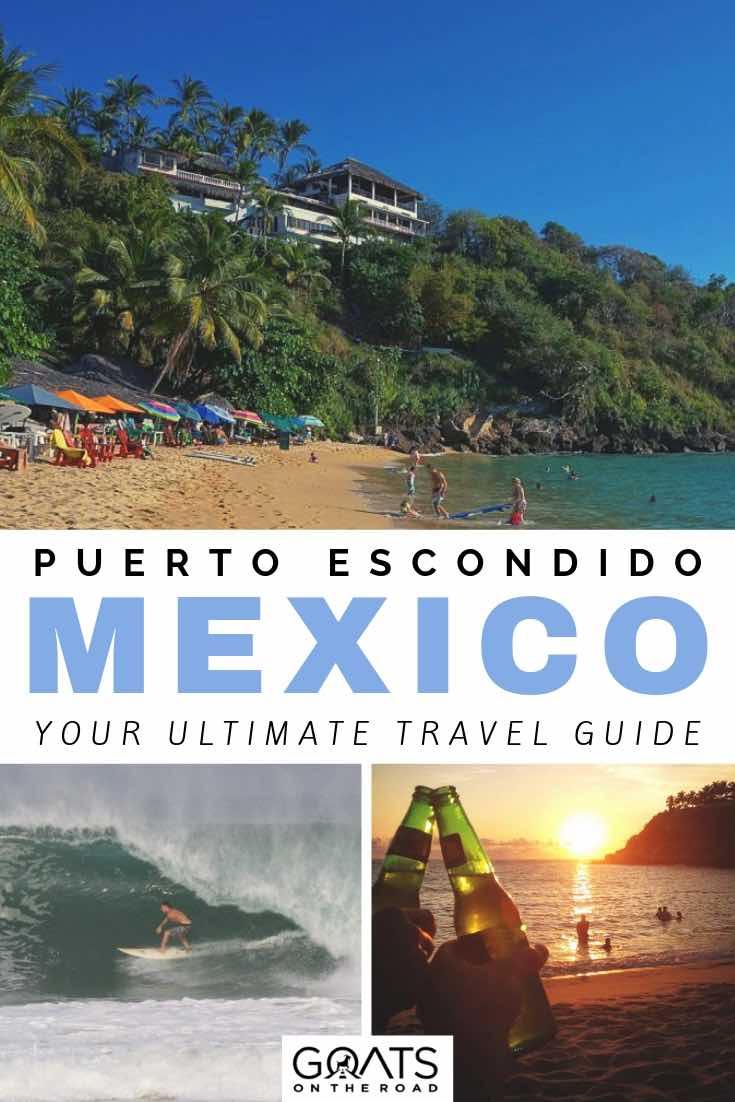 beach in puerto escondido mexico with text overlay