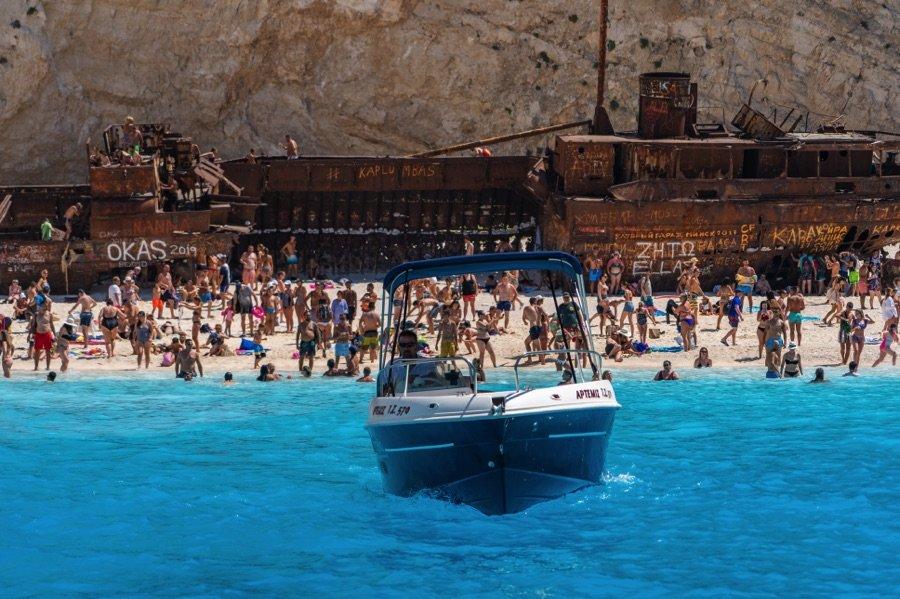 Boat To Navagio Beach Shipwreck Cove