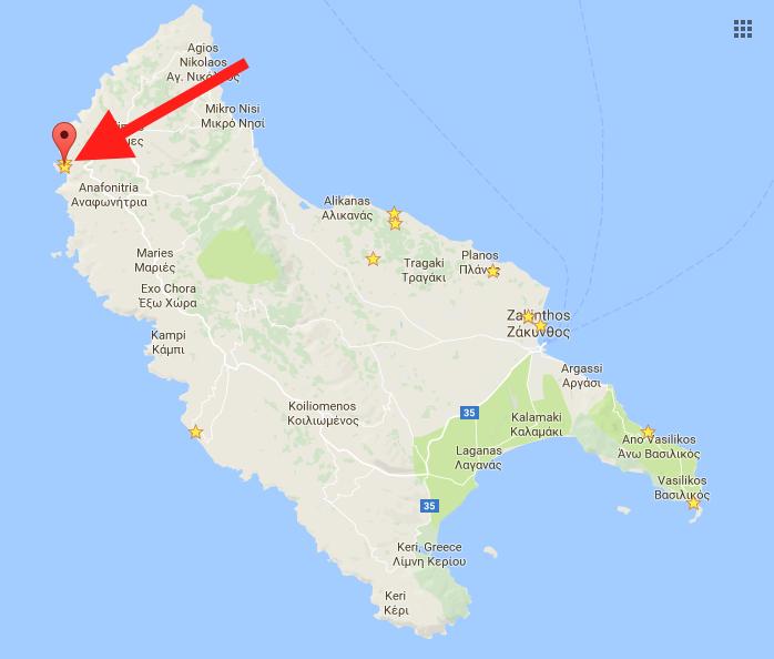 Where is Navagio Beach? (Where is Shipwreck Cove?) map