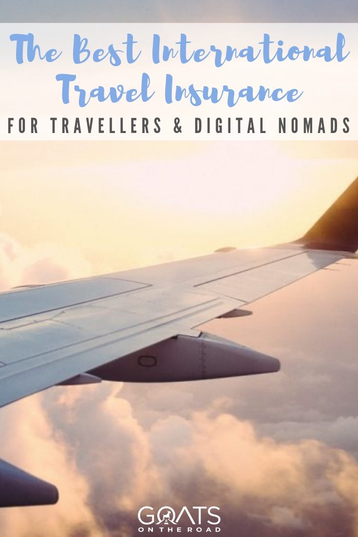 plane wing with the sunrise with text overlay the best international travel insurance for travellers and digital nomads