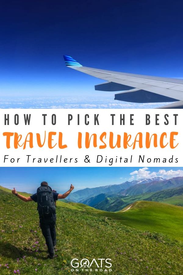 hiking along the mountains and plane wing with text overlay how to pick the best travel insurance